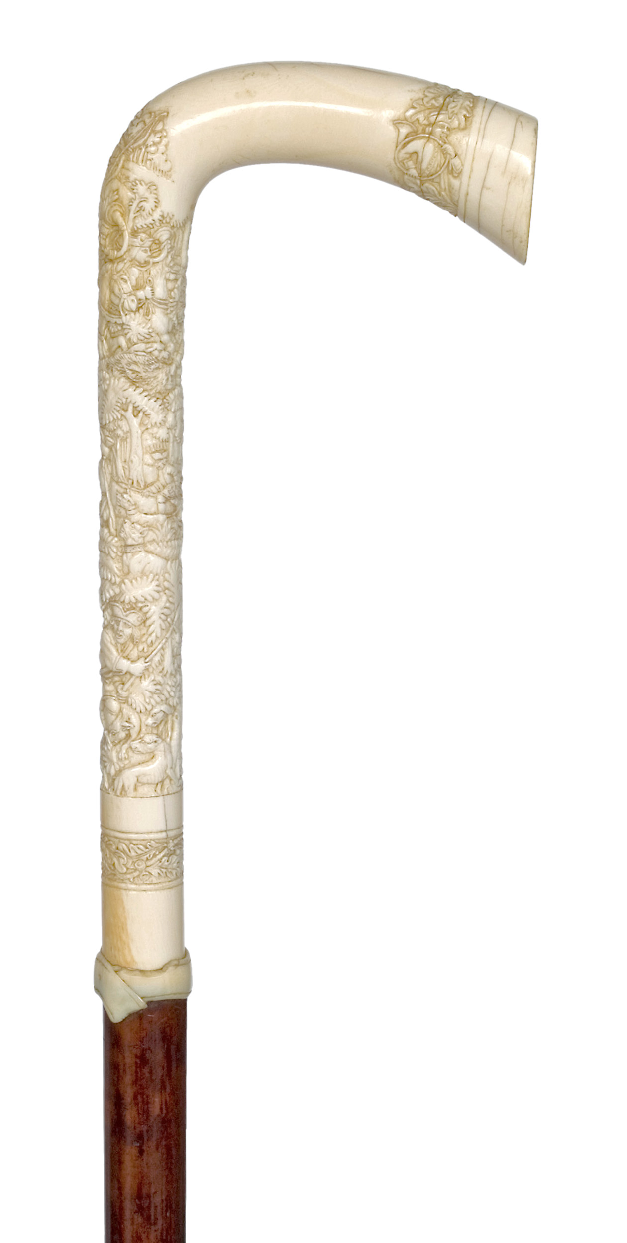 L-shaped ivory handle with carved boar hunting scene | Canequest